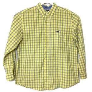 Chaps Easy Care Yellow Blue Plaid Button Up XL